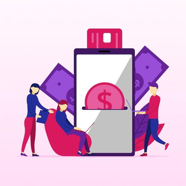 Traitement des paiements bancaires mobiles à partir d'une carte de crédit à l'écran Vecteur Premium