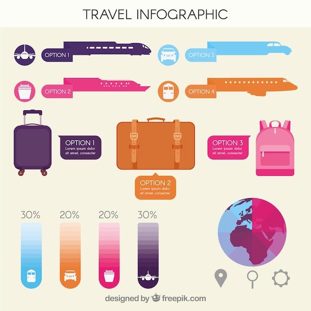 Traiter L'infographie Avec Des éléments En Couleurs Plates Vecteur gratuit