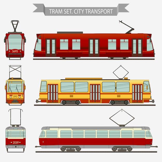 Tram transport vectoriel de la ville Vecteur Premium