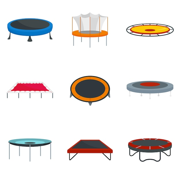 Trampoline Sautant Parc Joie Icônes Définies Vecteur Premium