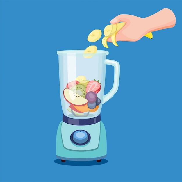 Tranche De Fruits à La Main Au Mélangeur, Faisant Des Smoothies De Jus De Boisson Saine Dans Un Robot Culinaire En Illustration De Dessin Animé Vecteur Premium