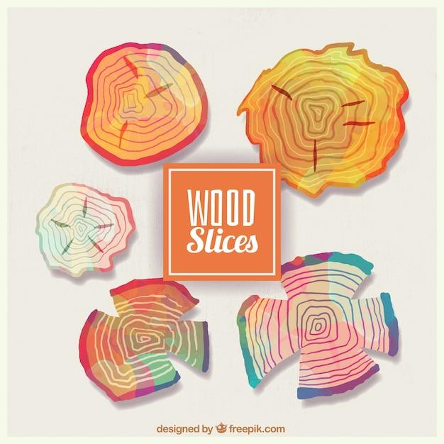 Tranches de bois peints à l'aquarelle Vecteur gratuit