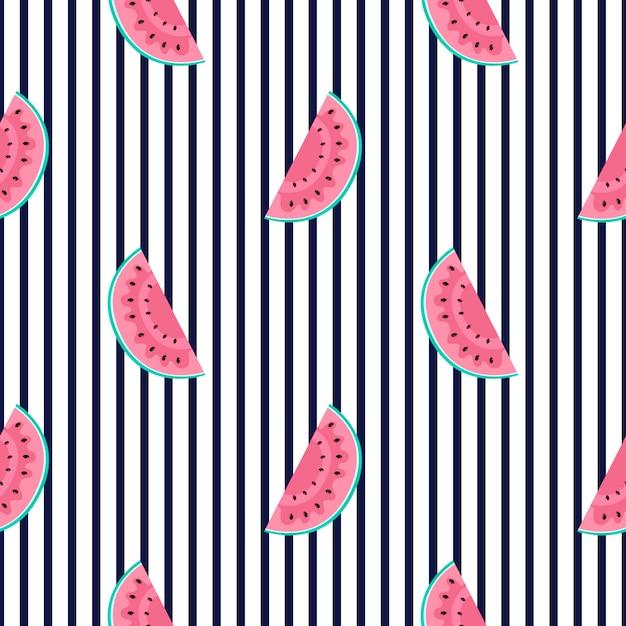 Tranches De Pastèque. Modèle Sans Couture D'été Rayé Horizontal. Utilisé Pour Les Surfaces De Conception, Les Tissus, Les Textiles, Le Papier D'emballage, Le Papier Peint. Vecteur Premium