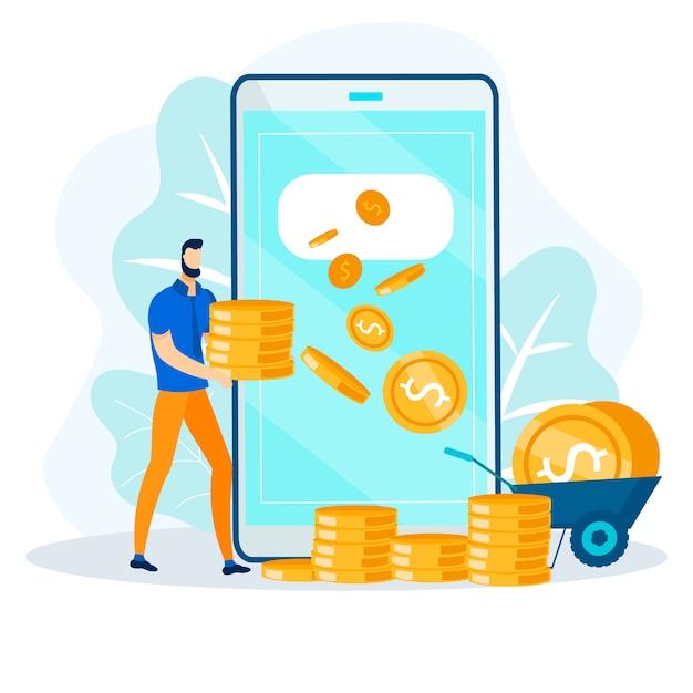 Transaction financière en ligne, transfert d'argent rapide Vecteur Premium