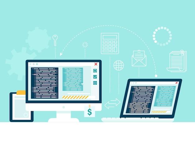 Transférez Des Informations D'un Périphérique Informatique à Un Autre. Transfert De Fichiers, échange De Données. Vecteur Premium