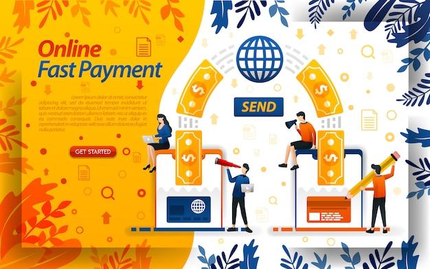 Transférez, payez et envoyez de l'argent facilement avec internet et un smartphone Vecteur Premium