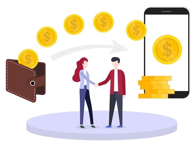 Transfert d'argent vector illustration concept Vecteur Premium