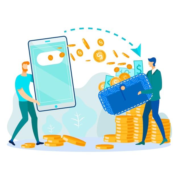 Transfert d'argent via une illustration de portefeuille numérique Vecteur Premium