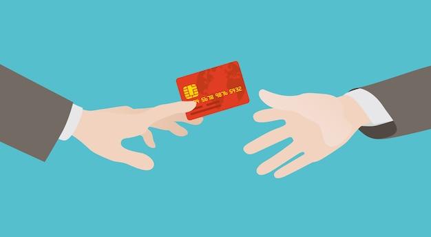 Transfert de carte de crédit de main en main Vecteur Premium