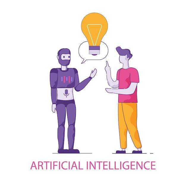 Transfert de connaissances de l'homme à l'humanoïde Vecteur Premium