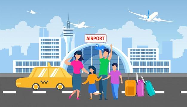Transfert de famille à l'aéroport avec un vecteur plat taxi Vecteur Premium