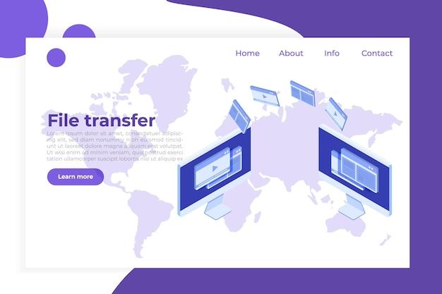 Transfert De Fichiers Sur Le Concept Isométrique De Bureau. Synchronisation, Technologie Cloud. Vecteur Premium