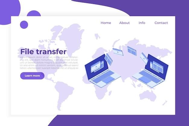 Transfert De Fichiers Sur Le Concept Isométrique De Cahier. Pourrait Représenter La Synchronisation. Vecteur Premium