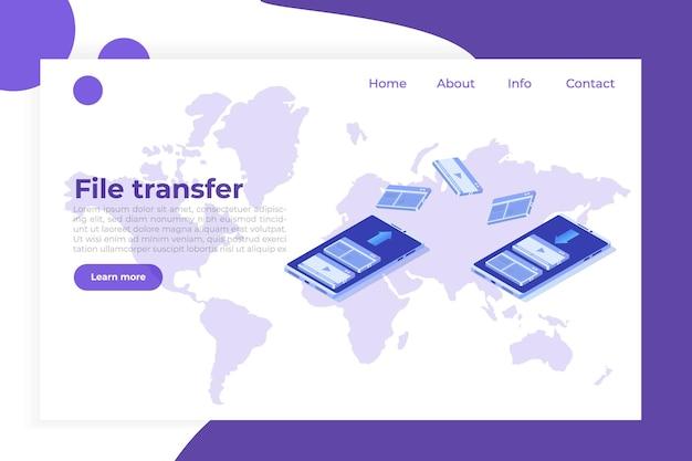 Transfert De Fichiers Sur Le Concept Isométrique De Smartphone. Synchronisation, Technologie Cloud. Vecteur Premium