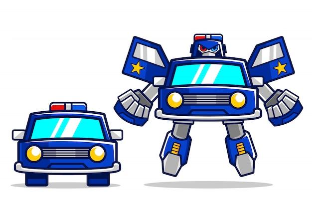 Transformation De Robot De Voiture De Police De Dessin Anime Vecteur Premium