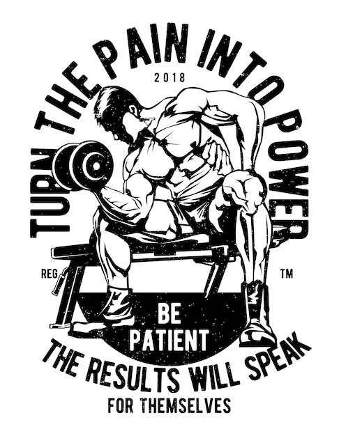 Transformez la douleur en puissance Vecteur Premium