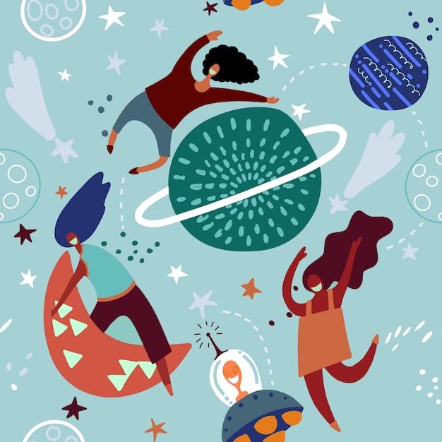 Transparente motif enfantin avec des filles drôles de lunes et de ciel étoilé. Vecteur Premium