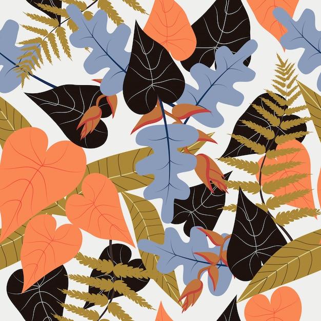 Transparente motif floral tropical coloré Vecteur Premium