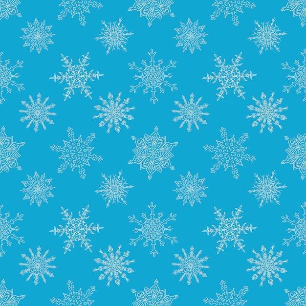 Transparente motif de noël bleu avec des flocons de neige dessinés Vecteur Premium