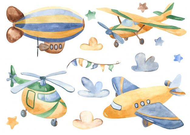 Transport aérien de dessin animé mignon Vecteur Premium