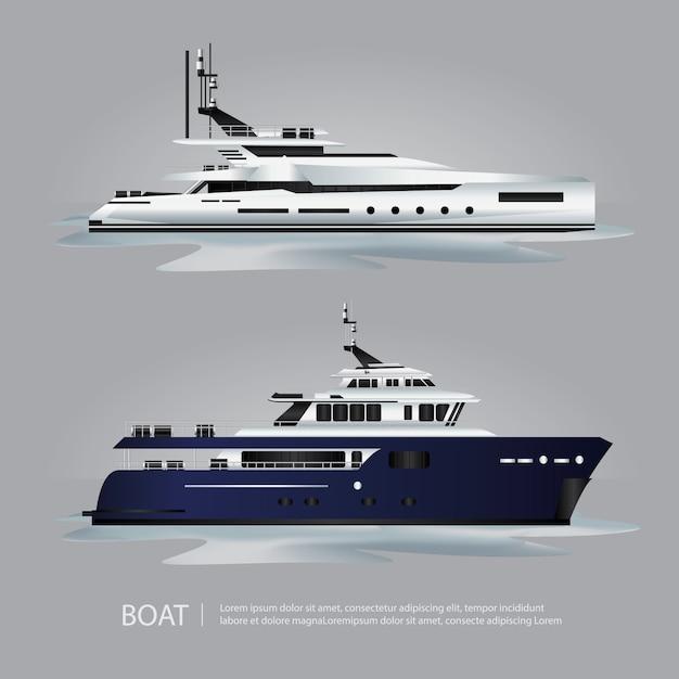 Transport bateau touristique à voyager Vecteur Premium