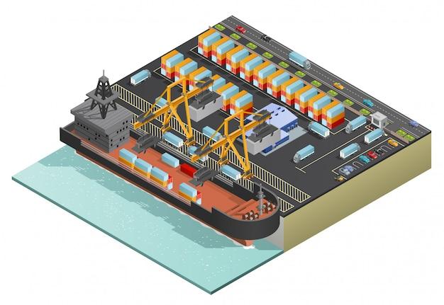 Transport de cargaison maritime isométrique Vecteur gratuit