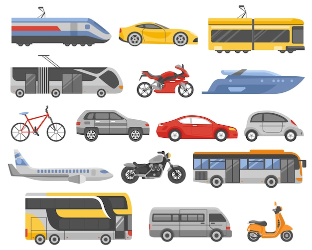 Transport décoratif plat icons set Vecteur Premium