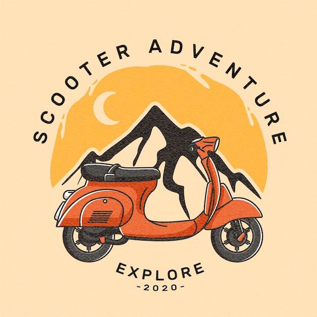 Transport De L'emblème Du Logo Scooter Vecteur Premium