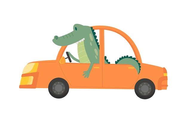 Transport D'enfants Colorés Avec Un Petit Crocodile Mignon. Vecteur Premium