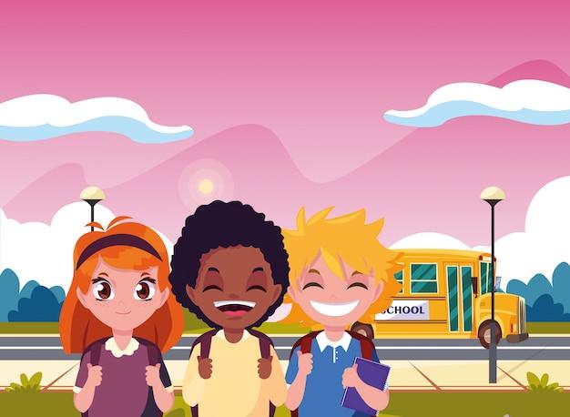 Transport étudiant bus garçon et fille retour à l'école Vecteur Premium