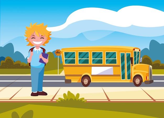 Transport étudiant bus scolaire retour à l'école Vecteur Premium