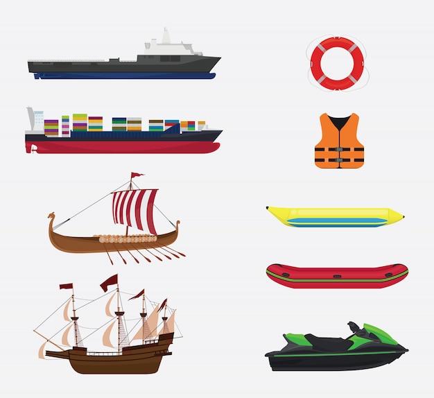 Transport en mer ou collecte d'eau Vecteur Premium