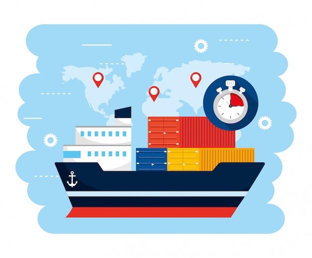 Transport de navires avec convoyeurs et localisation de la carte globale Vecteur Premium