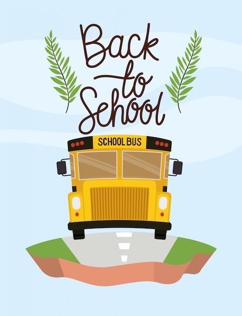 Transport par autobus scolaire sur le terrain Vecteur gratuit
