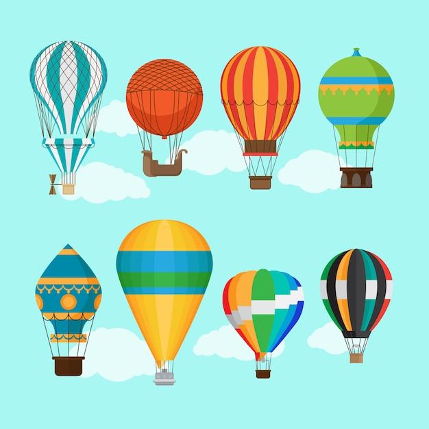 Transport par ballon aérostat Vecteur Premium