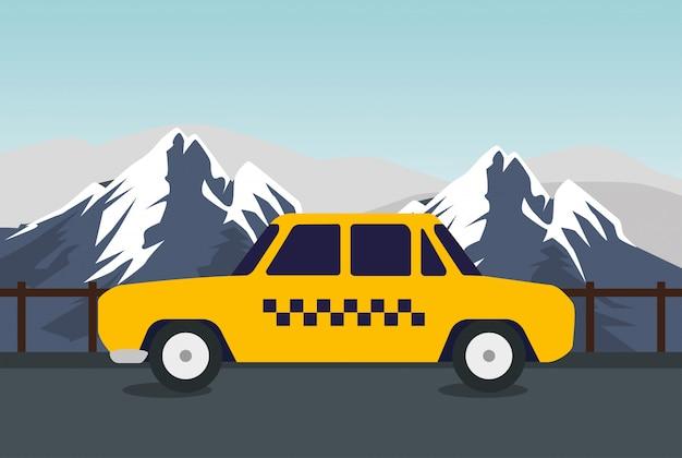 Transport par carte de taxi dans les montagnes enneigées Vecteur gratuit