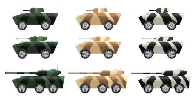 Transport de troupes blindé et canons automoteurs. Vecteur Premium