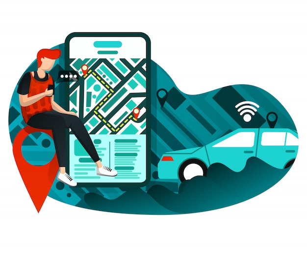 Transport urbain entreprise en ligne Vecteur Premium