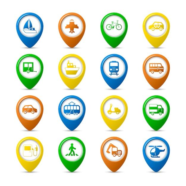 Transport, véhicules, navigation, épingles, ensemble, voiture, camion, bus, piéton, isolé, vecteur, illustration Vecteur gratuit