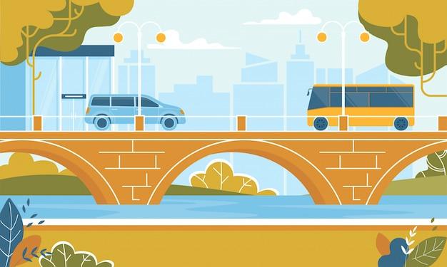 Transport de la ville en autobus se déplaçant au pont sur la rivière Vecteur Premium