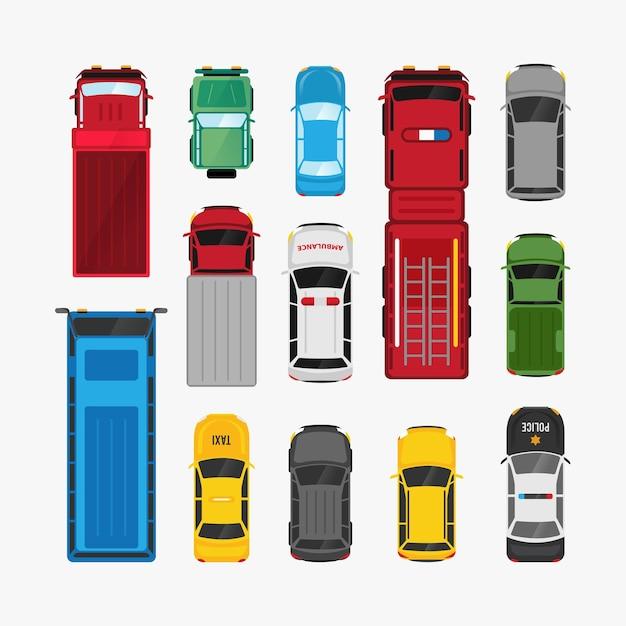 Transport De Voitures Mis Illustration De Véhicule Plat Vue De Dessus Vecteur Premium
