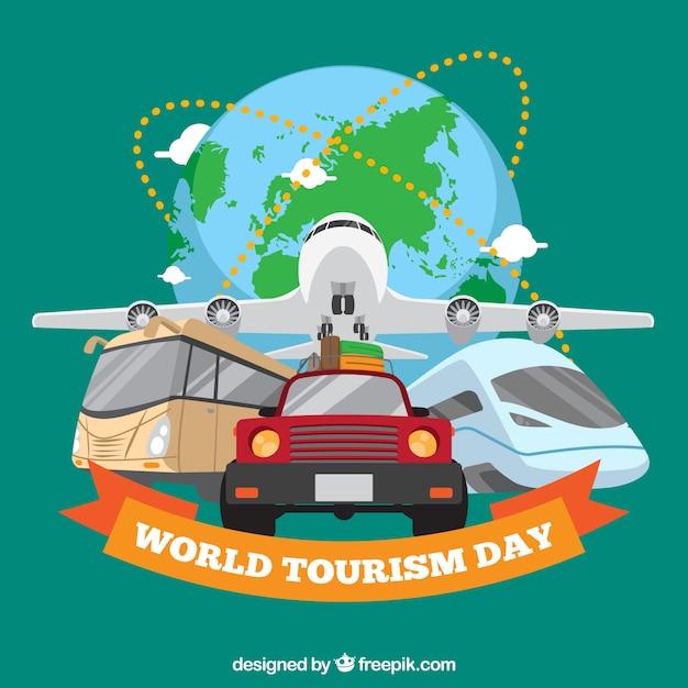 Transport de voyage, journée touristique mondiale Vecteur gratuit