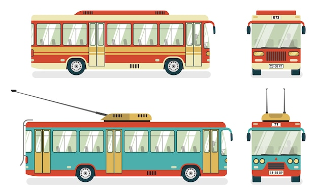 Transports publics bus trolleybus 4 icônes Vecteur gratuit