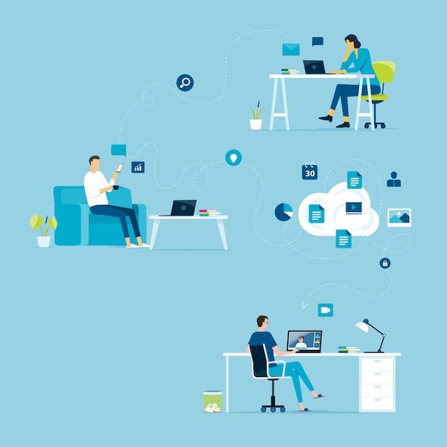 Travail à Domicile Concept Et Entreprise Intelligent Travail En Ligne Connecter N'importe Où Concept Vecteur Premium