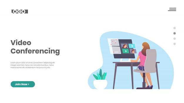 Travail à domicile et vidéoconférence Vecteur Premium