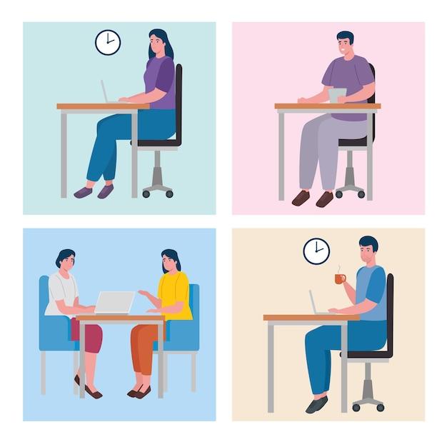 Travail D'équipe De Cinq Travailleurs Personnages De Bureau De Coworking Vecteur Premium