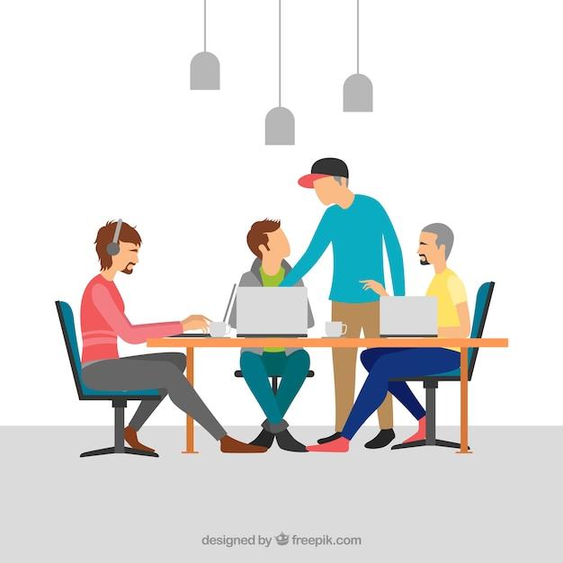 Travail d'équipe dans un bureau moderne Vecteur gratuit