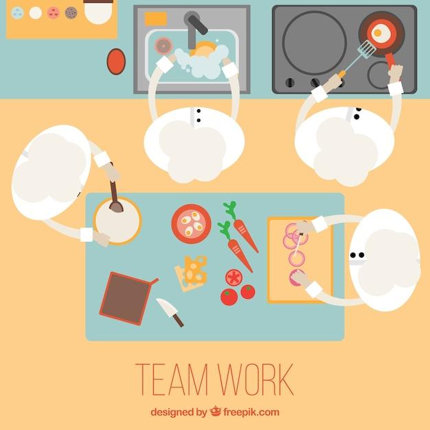 Le travail d'équipe dans une cuisine Vecteur gratuit