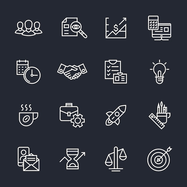 Travail d'équipe, démarrage, icônes de l'entreprise Vecteur Premium