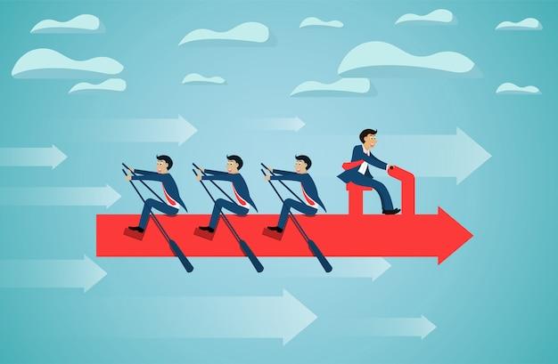 Travail d'équipe des entreprises sur la flèche d'aviron sur l'objectif de succès du ciel. Vecteur Premium